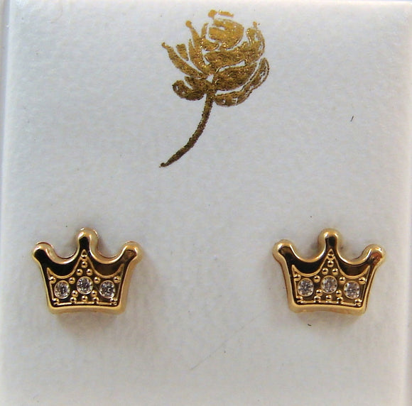 14 KT Baby crown with CZ. screw back earrings