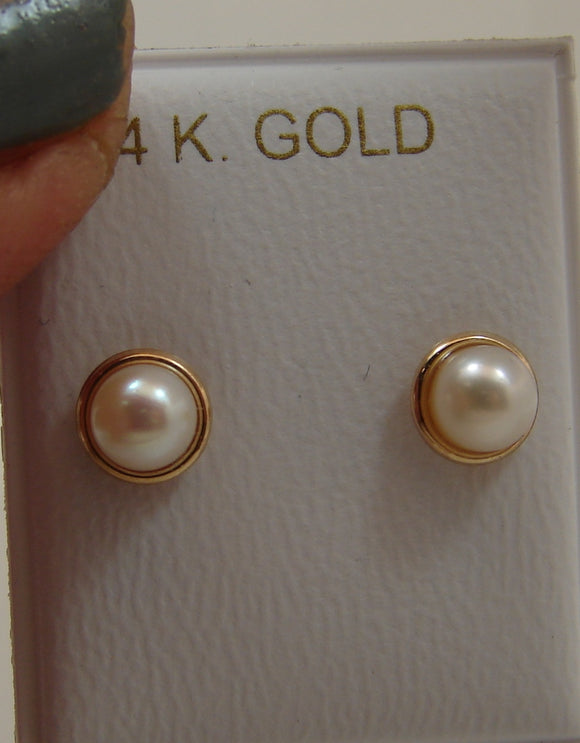 14 KT Children's deluxe trim pearl earrings 5mm.