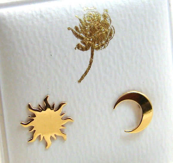 14 KT Sun and Crescent moon screw back earrings
