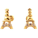 Eiffel tower post stud 14 KT gold children's earrings