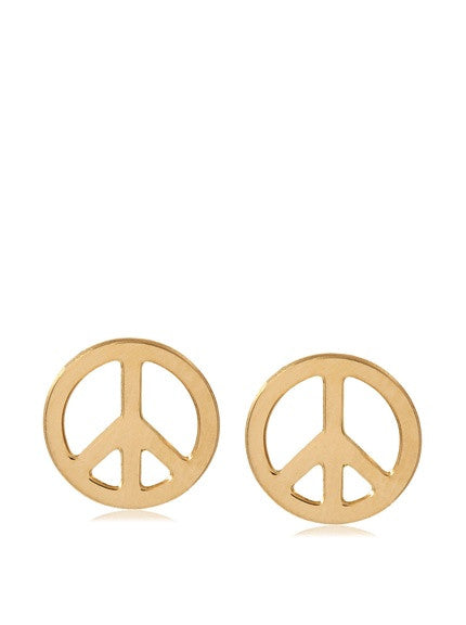 14 KT Children's Gold peace sign earrings