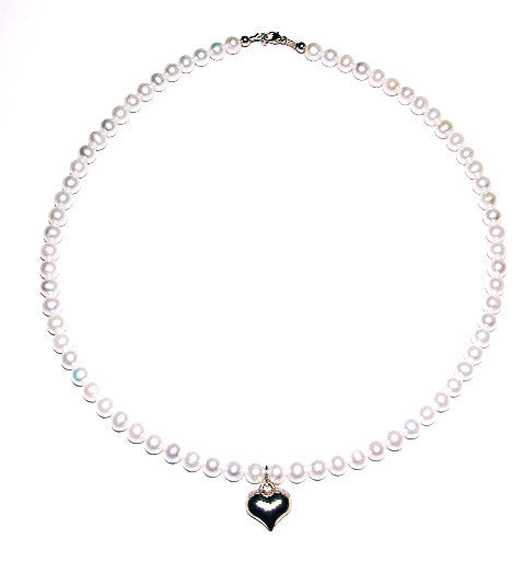 14 KT Children's pearl heart necklace 14 inch