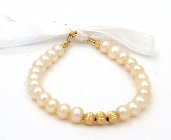 14 KT Baby Pearl Fluted Bead Bracelet