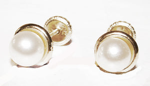 14 KT Children's Pearl 5mm. screw back earrings