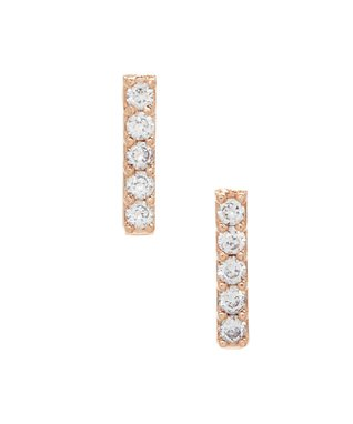 14 KT Bar stud CZ earrings rose