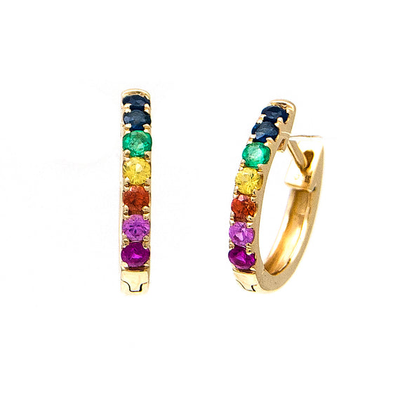 14 KT Small oval huggies with blue, pink, orange and yellow sapphires and emerald and genuine ruby stones.