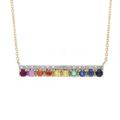 14 KT Multi Gem Rainbow Bar Necklace