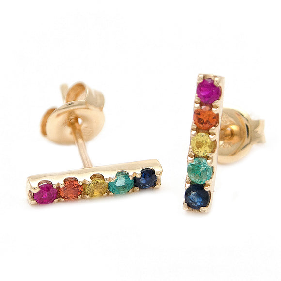 14 KT Rainbow Woman Multi Gem Bar Studs