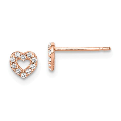 14 KT Children's Heart Prong set cz rose gold stud earrings