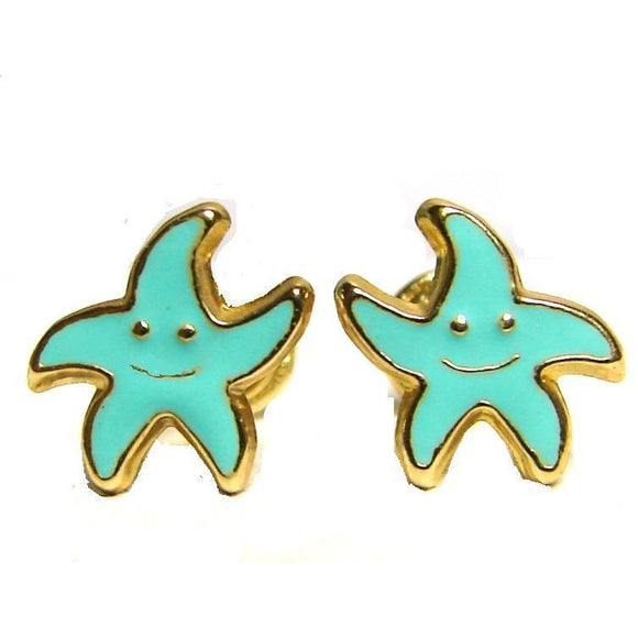 14 KT Children's starfish earrings
