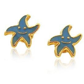 14 KT Gold Kid's Starfish Aqua Blue screw backs