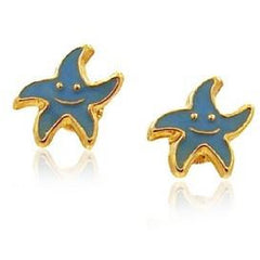 14 KT Kid's screw back earring Star fish sea foam green