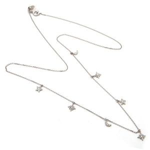 14 KT Diamond Moon and Stars Necklace