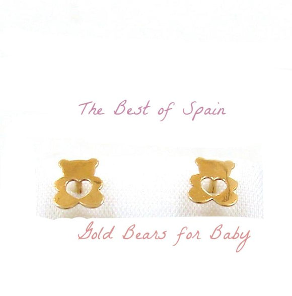 14 KT Baby Bear open heart screw back earrings