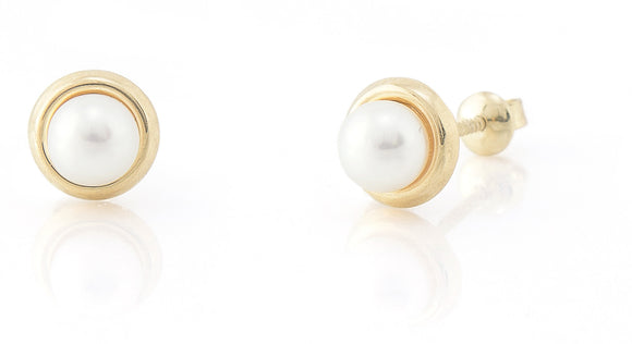 14 KT Toddler Pearl 4mm. saucer screw back earring