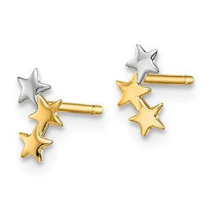 14 KT Children's Triple Stars gold stud earrings