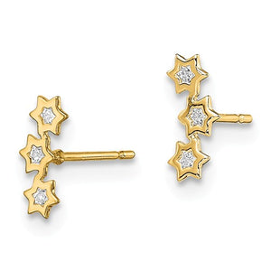 14 KT Children's Triple Star of David CZ post stud earrings