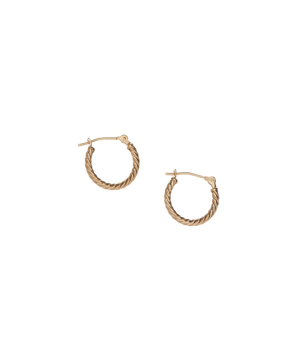14 KT Designer style twisted hoop earrings