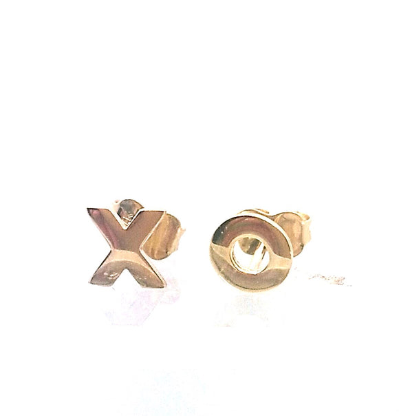 14KT Girl's XO post clutch back Earrings