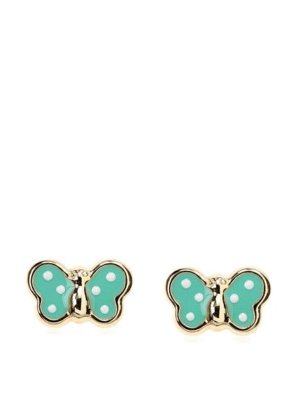 14 KT Children's Butterfly earrings Green