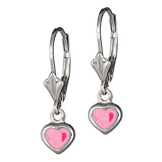14 KT Gold plated Children's pink dangle earrings