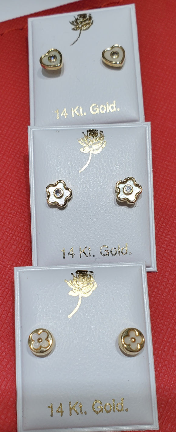 14KT Children's MOP Pearl Heart screw back Earrings