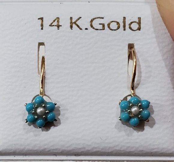 14 KT Kidney wire Children's turquoise prong set flower earrings
