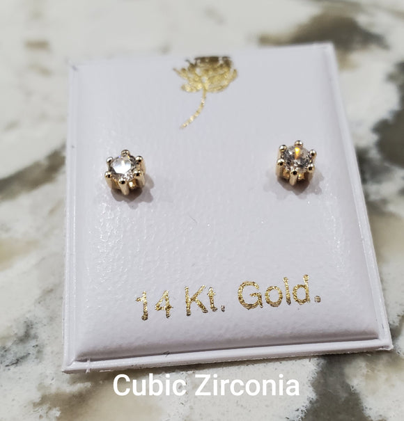 14 KT Baby Six Prong CZ's earrings Yellow