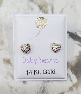 14 KT Pave CZ heart screw back earrings