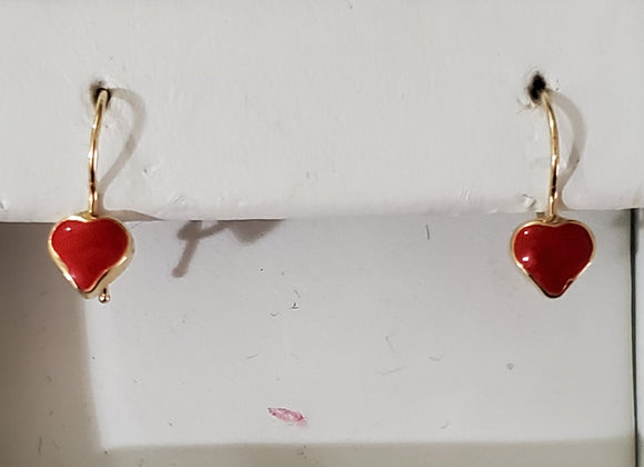 14 KT Children's red heart earrings