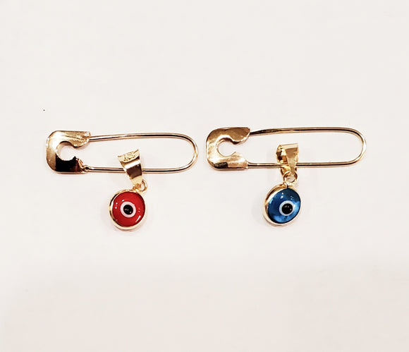 14 KT Small gold safety pin with evil eye charm