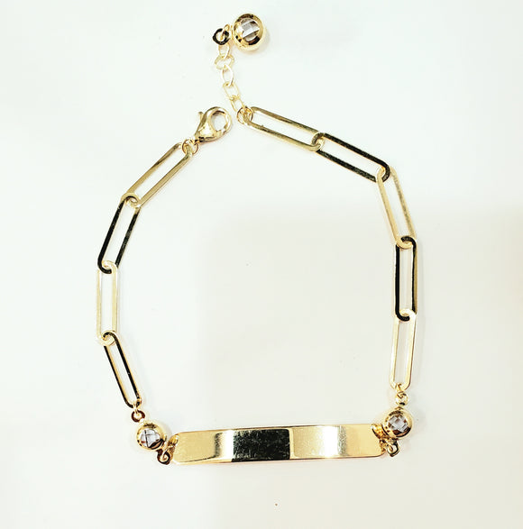 14 KT Paper clip link ID bracelet 7 inches with extra 1/2 inch extender. Available in Children's size too. 2 inch nameplate.