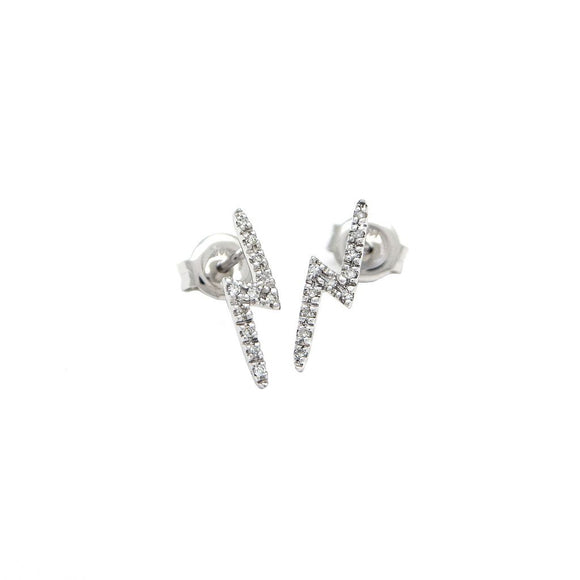 14 KT Lightening Bolt diamond stud earrings