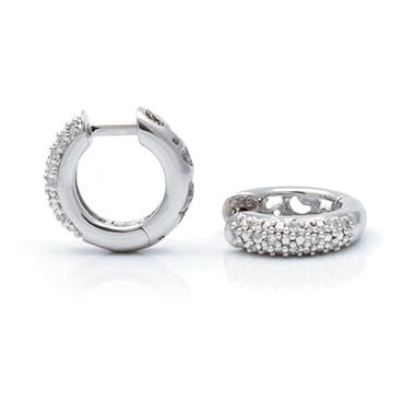 Sterling Baby Diamond Chunky Huggie moon and stars accents