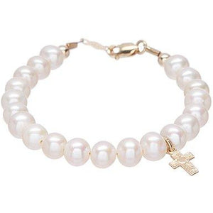 14 KT Children's Pearl Christening Bracelet (5 IN)