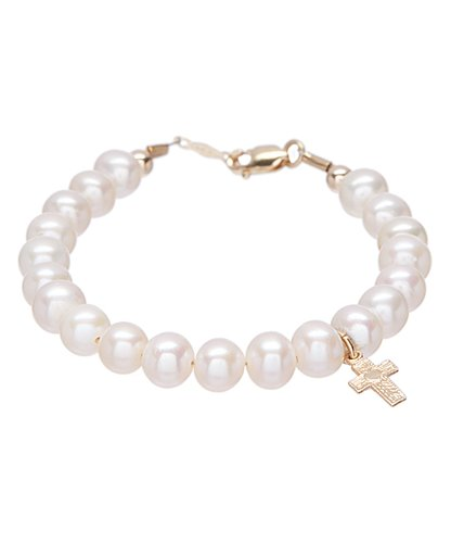 14 KT Genuine Freshwater Baby Bracelet with mini cross 4.5