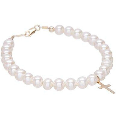 14 KT Children's Pearl Cross Bracelet