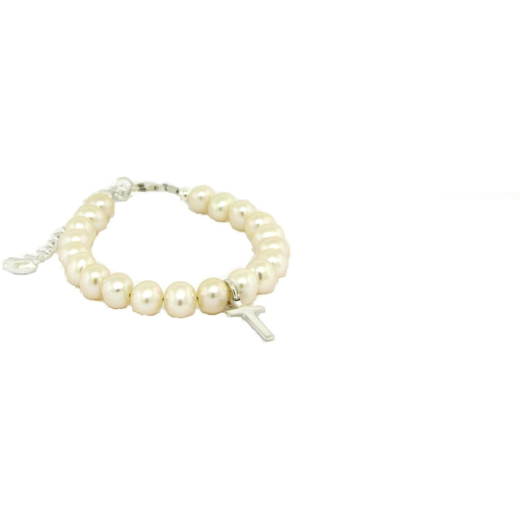 Pearl cross bracelet with extender deluxe quality