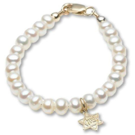 14 KT Baby Pearl Naming Star of David Bracelet (4.75 IN)