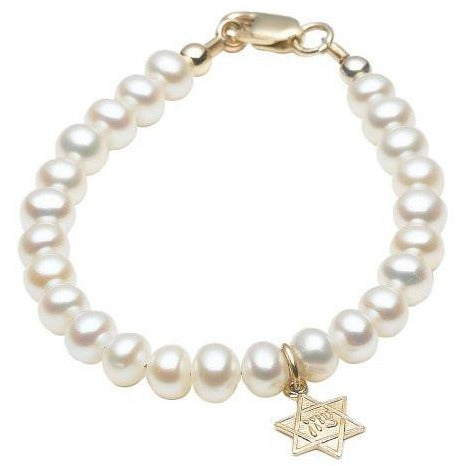 14 KT Children's Pearl Naming Star of David Bracelet (5.75 IN)