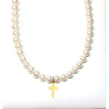 Sterling Children's  Pearl cross necklace