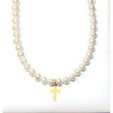 Near round children's pearls 14 KT gold necklace with gold cross