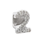 Sterling Diamond Slider Number Symbol Charms 0-9