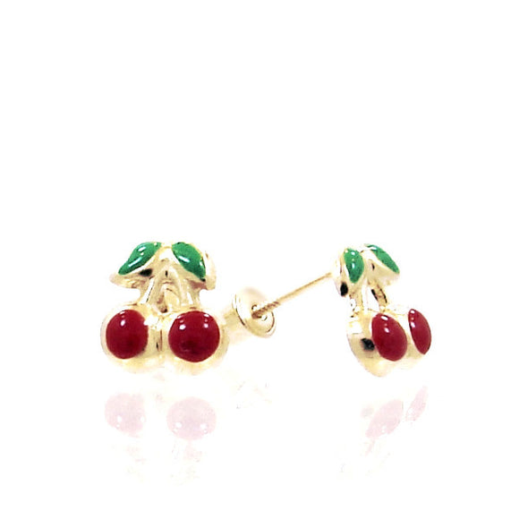 14 KT Baby Cherry screw back earring