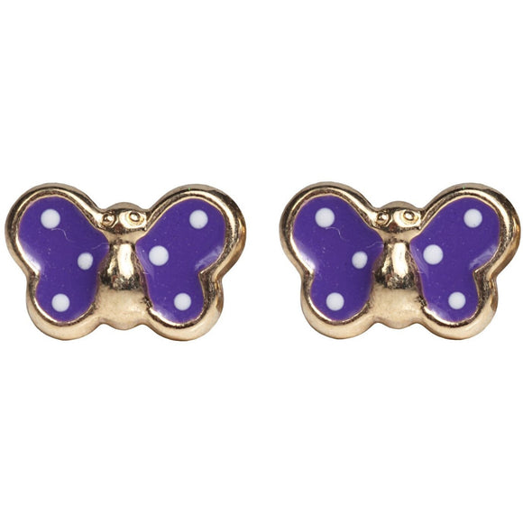 14 KT Polka Dot Children's Butterfly earrings Purple