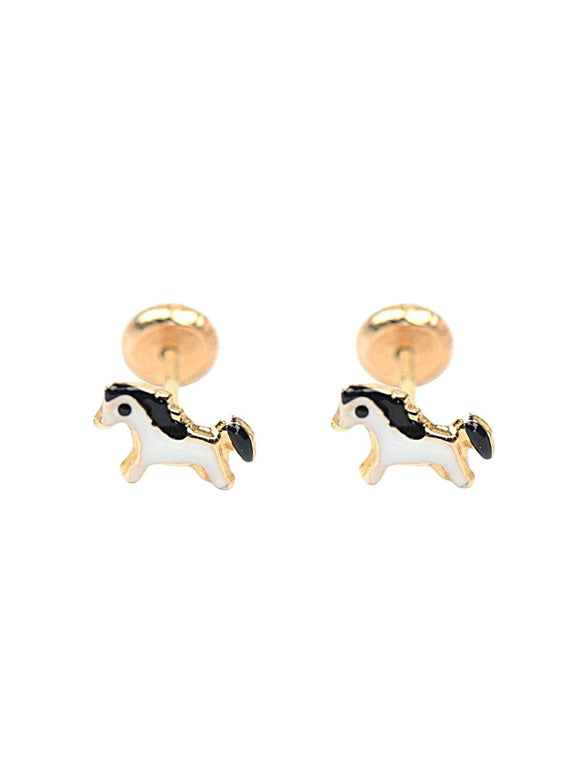 14 KT Children's Horse Screw Back Earrings