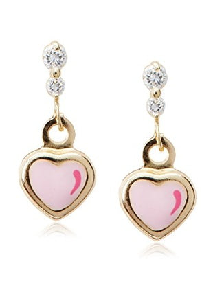 14 KT Girl's dangle earrings hearts