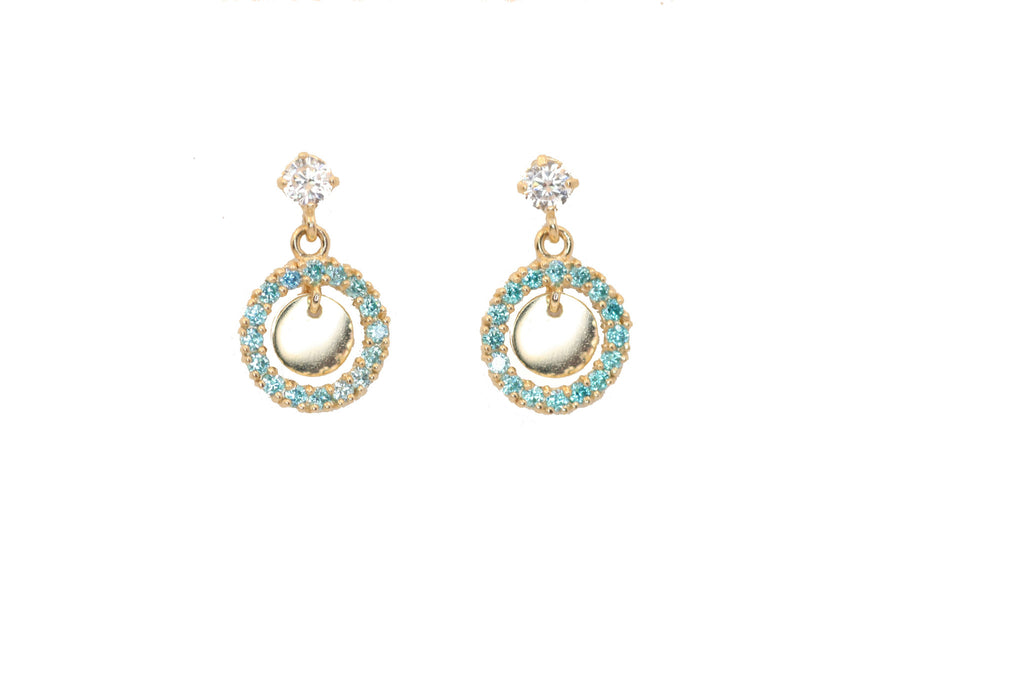 Blue circle cz. 14 KT gold children's earrings