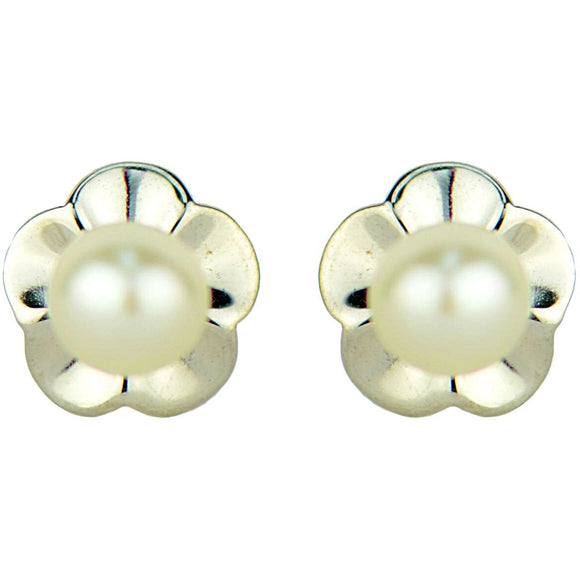 14 KT Children's Pearl fluted Screw Back