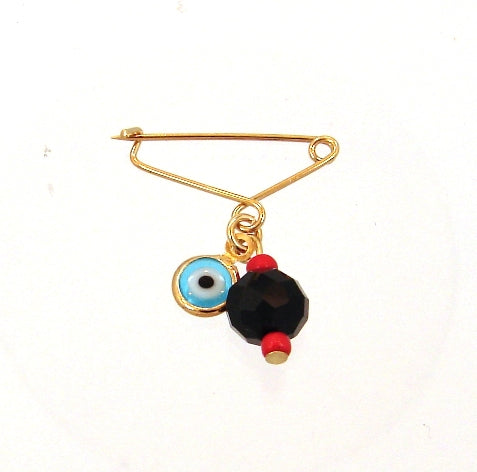 Gold filled azabache + evil eye diaper pin